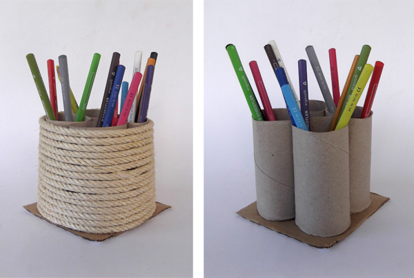 pencil holder, crafts, art, kids, pencil organizer, desk orginizer, toilet paper rolls, rope crafts, cardboard crafts, crafts with rope, crafts with toilet paper rolls, crafts tutorials