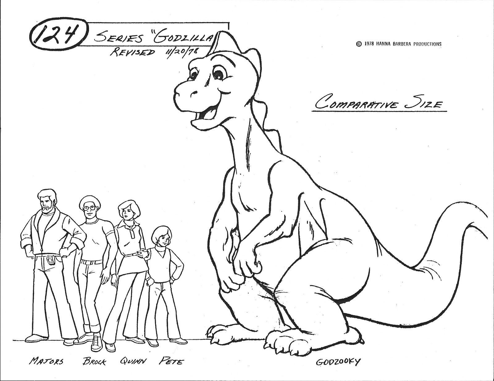 the sphinx godzilla hanna barbera model sheets 1978