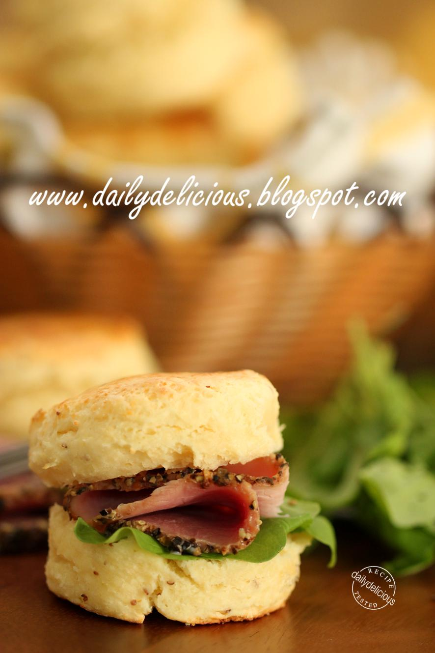 dailydelicious: Cheddar cheese scone: My mini sandwich scone.