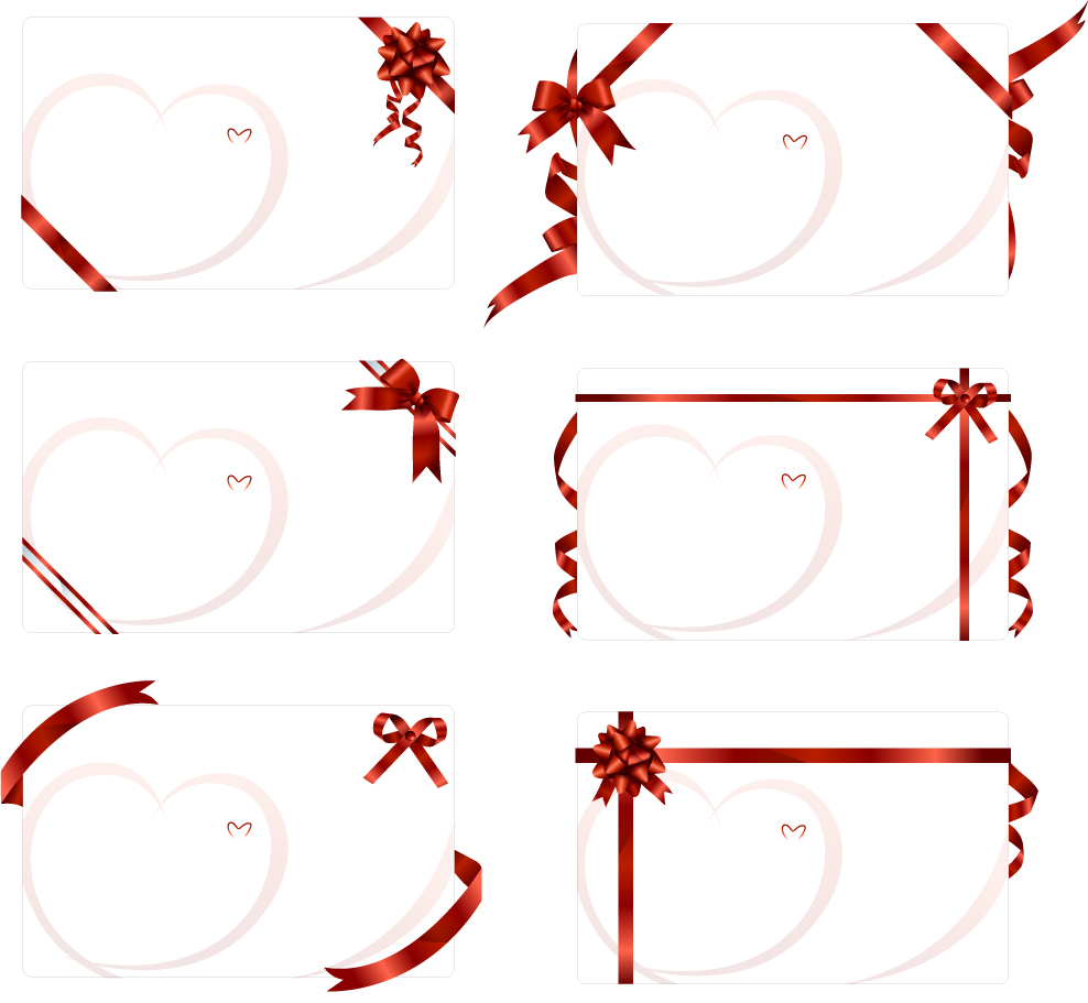 リボン飾りのハートのブランクカード ribbon tied to the blank card イラスト素材