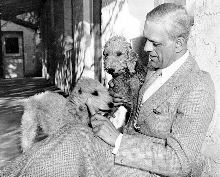 Boris Karloff at home with a couple of buddies.