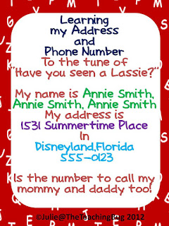 Song Freebie learning name and address The Teaching Bug