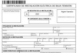 Boletín eléctrico, certificado de instalación