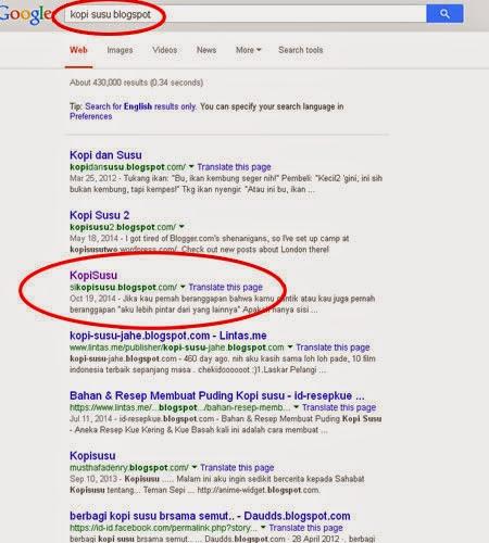 Dalam lingkaran merah itu alamat blognya