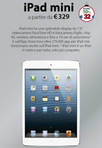 Rimborso spesa del 10% sull'iPad mini con un risparmio di 32 euro