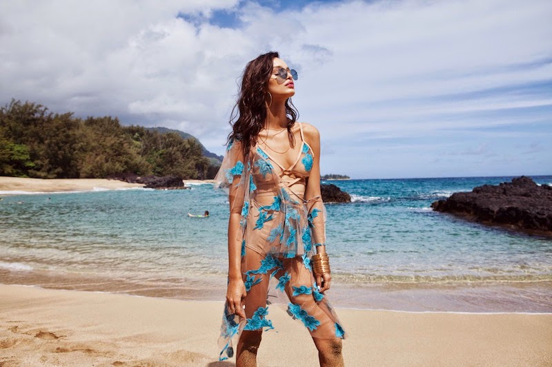 For Love & Lemons, Spring 2015, Pacific Getaway lookbook, Hawaii, holiday, tropical, sheer, lace, appliqué