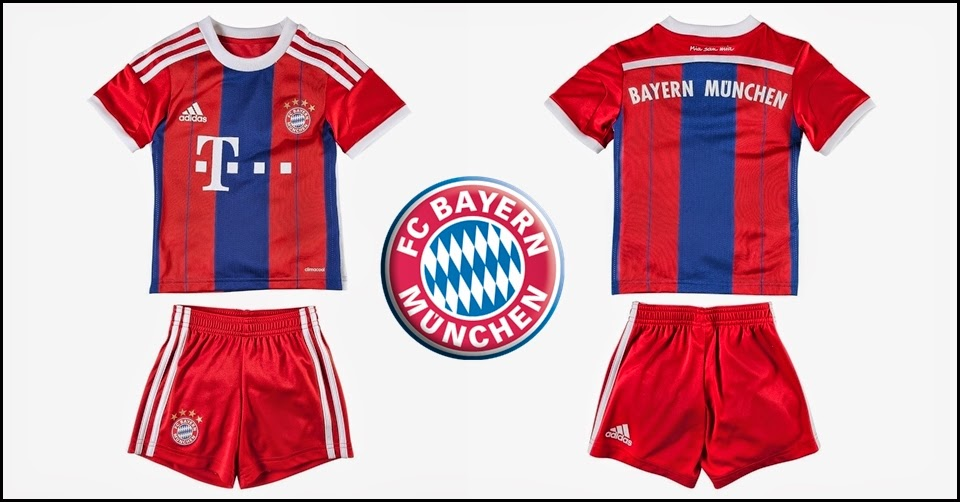 KIDS 14-15 BAYERN MUNICH HOME SOCCER JERSEY AND SHORTS
