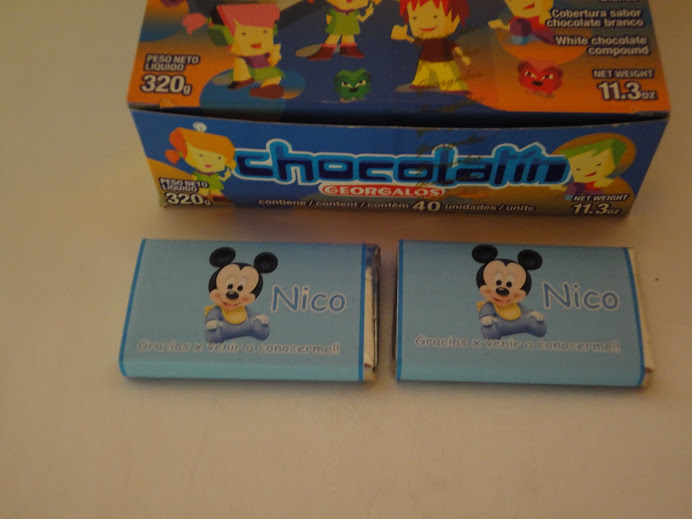 Chocolate Personalizado Nacimiento Mickey