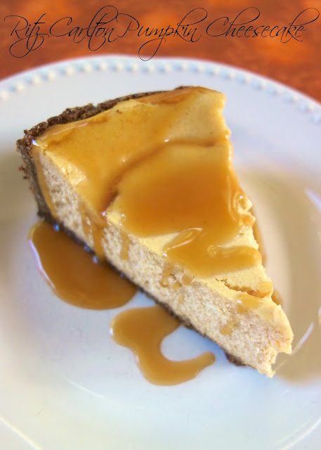 itz Carlton Pumpkin Cheesecake with Caramel Sauce - even pumpkin haters will love this cheesecake - we ate it and didn't realize it was pumpkin!