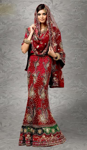 Latest Red Bridal Lehenga Choli 2013-14 Collection