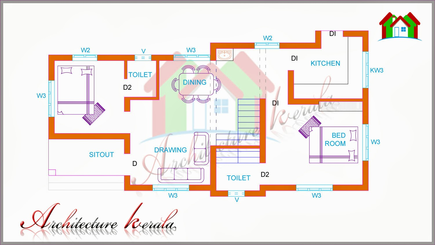 Two bedroom house plan for small families small plots for House plans in kerala with 2 bedrooms