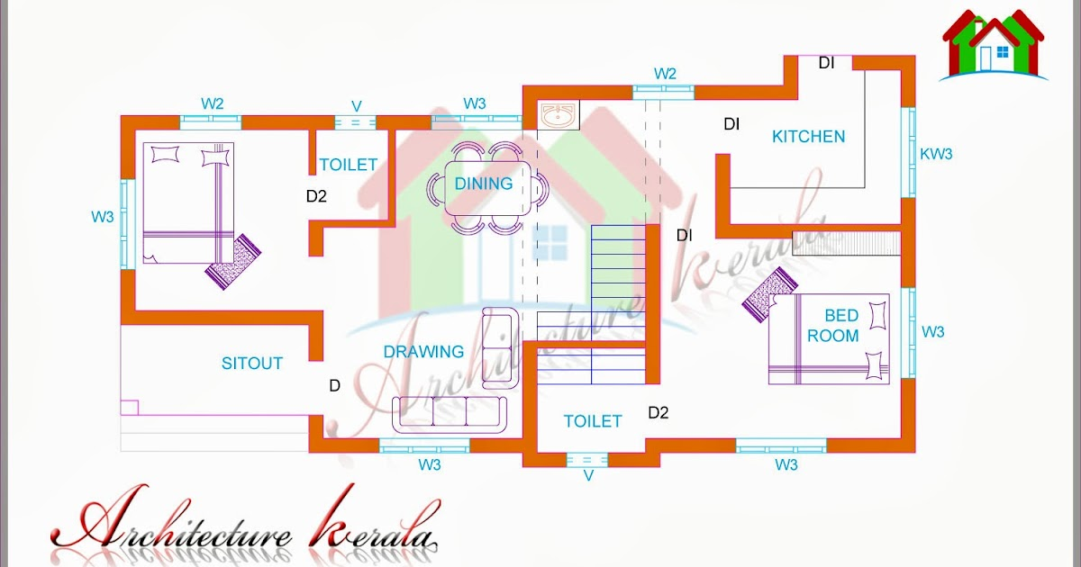 Two bedroom house plan for small families small plots for 800 sq ft house plans kerala style