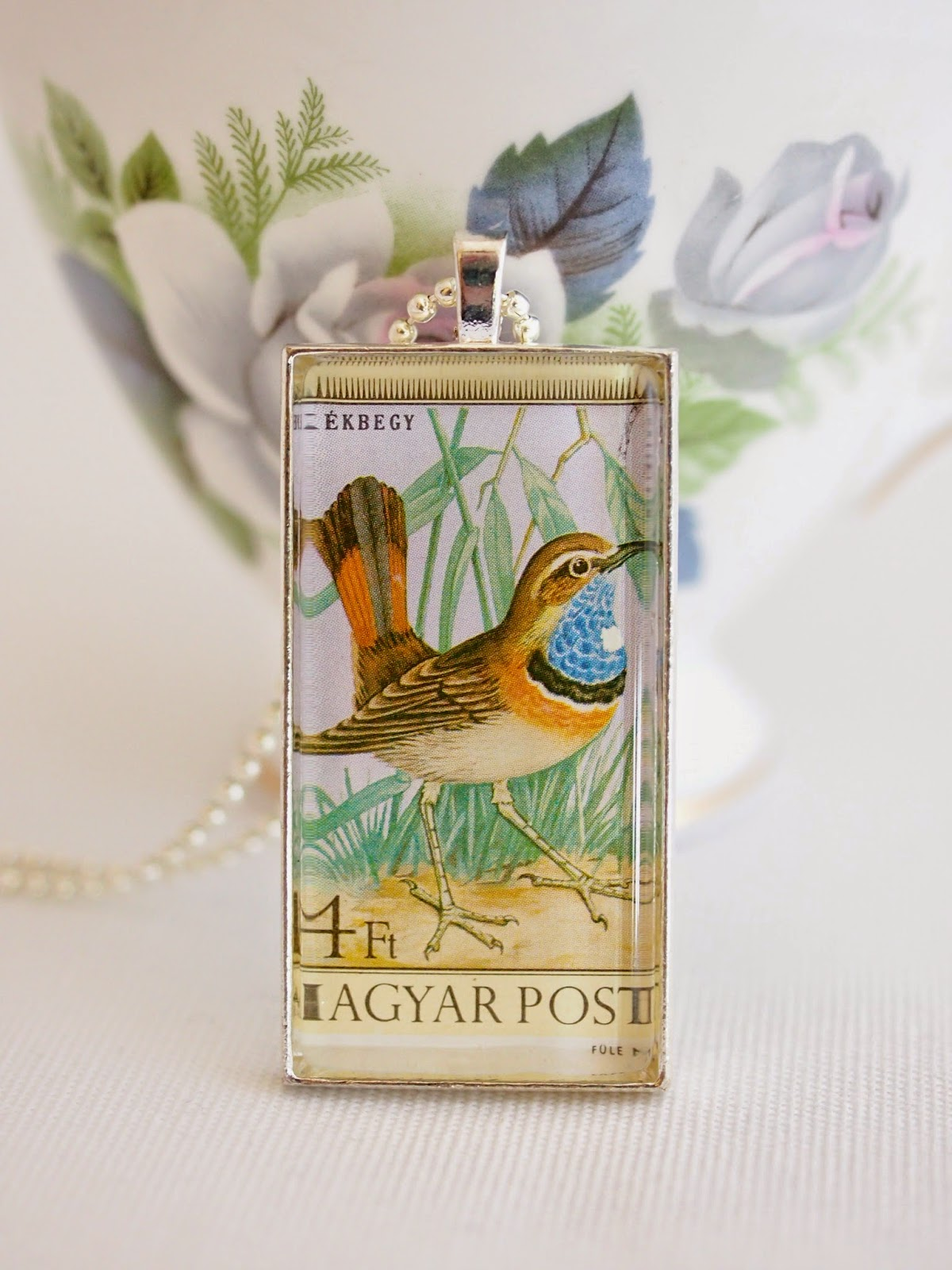 vintage 1973 magyar posta bird stamp, handmade upcycled jewelry by Starzyia on etsy.