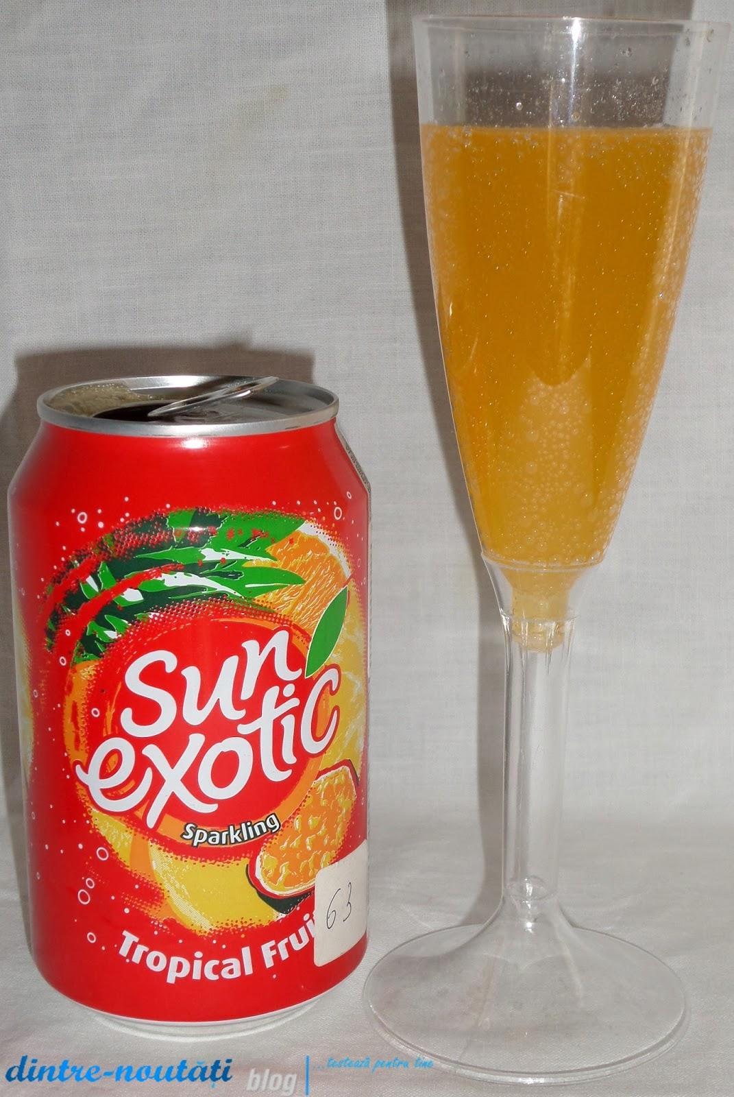 Băutură răcoritoare carbogazoasă cu suc de fructe tropicale