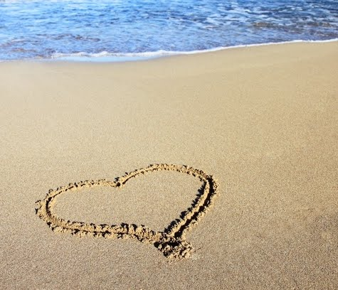 love the ocean heart in sand