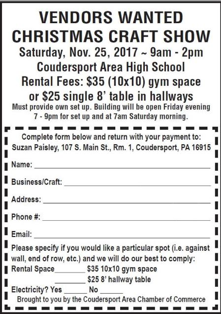 11-25 Vendors Wanted Christmas Craft Show