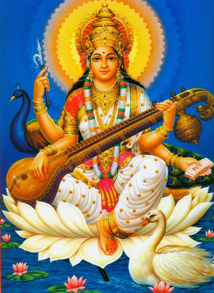 ganesha and saraswati picture for vijaya dasami hindu