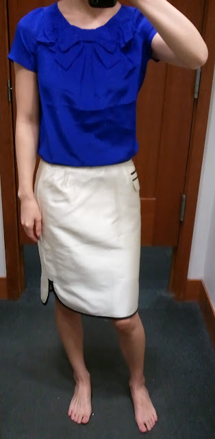J.Crew Bow-Neck Top in Byzantine Blue; Tuxedo Pencil Skirt