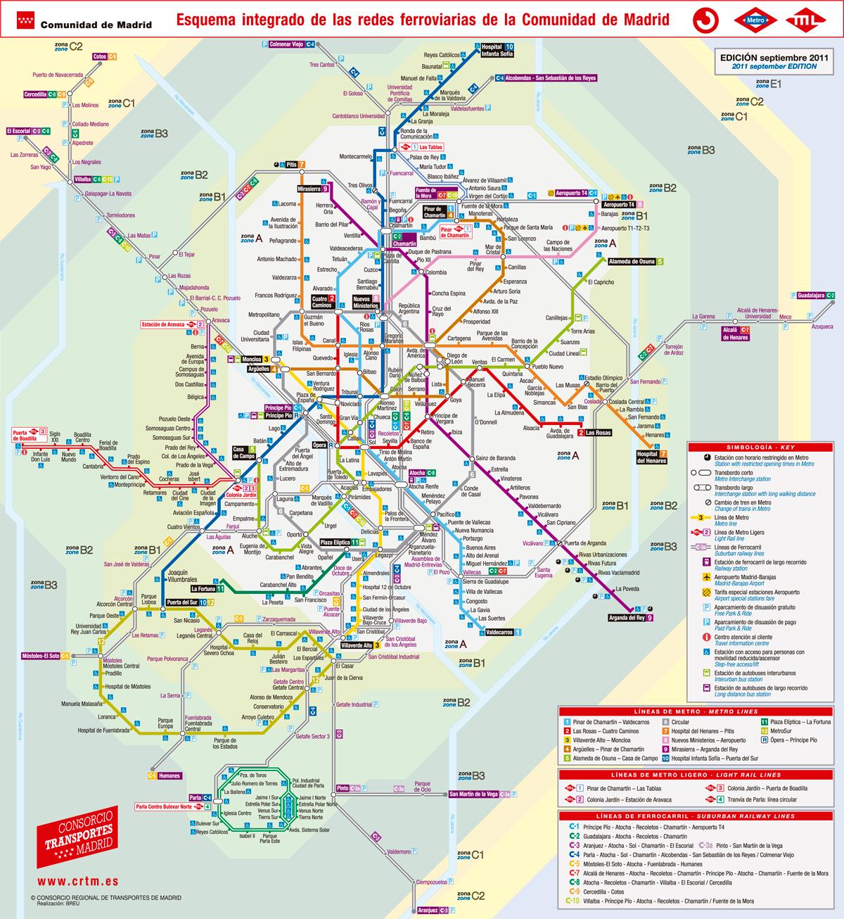nuevo plano de metro madrid que integra renfe cercan as. Black Bedroom Furniture Sets. Home Design Ideas