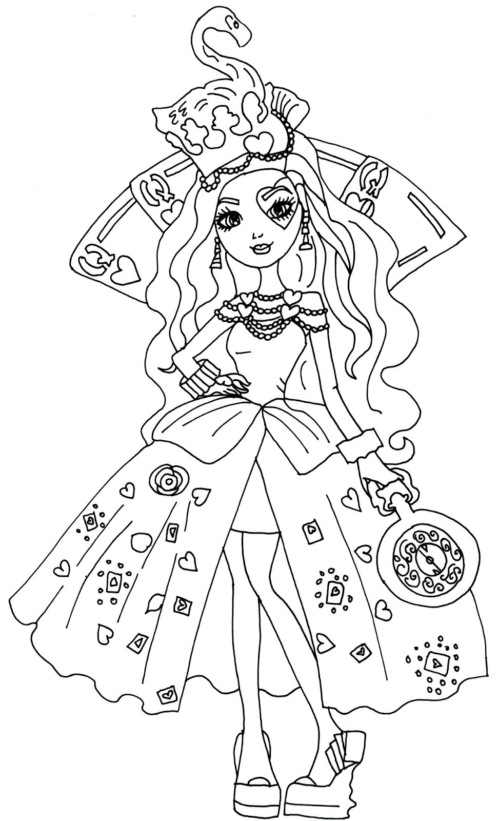 Ever after high coloring pictures - Lizzie Hearts Way Too Wonderland Ever After High Coloring Page