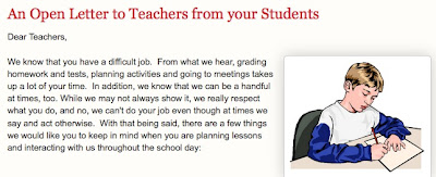 letters to teachers from students