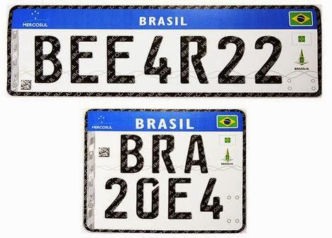 Novo Modelo de Placa Veículos BRASIL