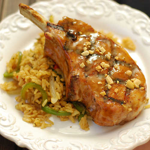 Grilled Thai Pork Chops With Peanut Sauce