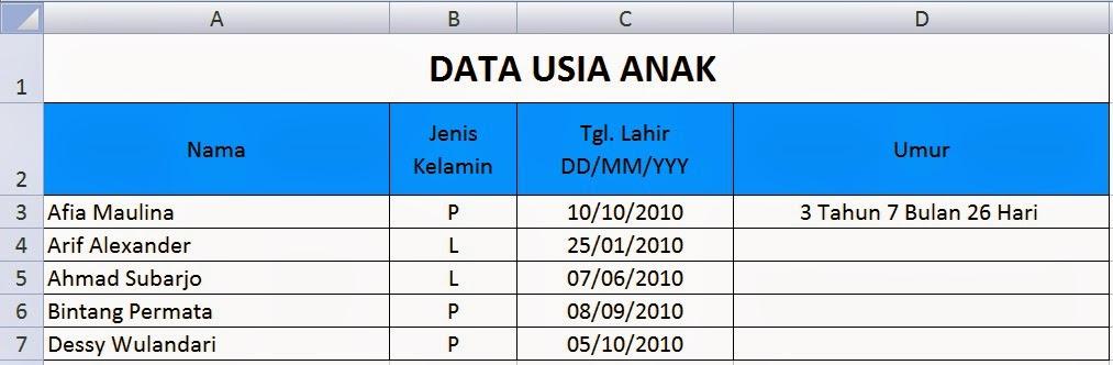 Menghitung Usia lengkap Tahun, Bulan, dan Hari dengan Excel