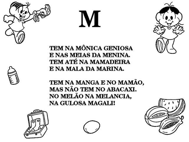 textos letra M turma da monica