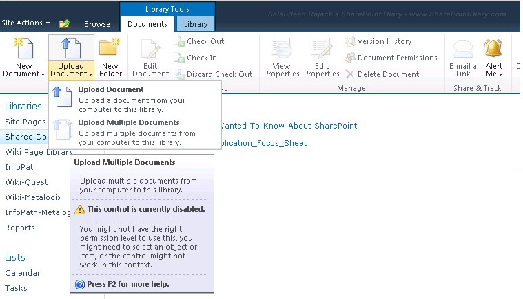 upload multiple documents, explorer view disabled or missing in SharePoint 2010
