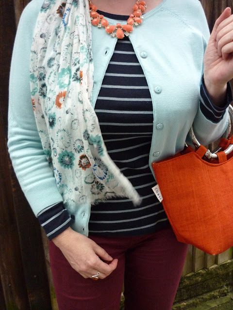 Striped tee, petite Dorothy Perkins Cardigan, Coast Bag, National Trust Scarf | Petite Silver Vixen