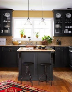 traditional black kitchen cabinets