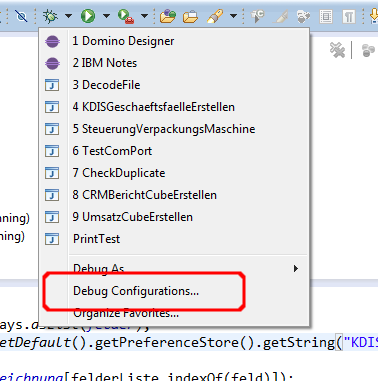 Change Debug Configurations in Eclipse