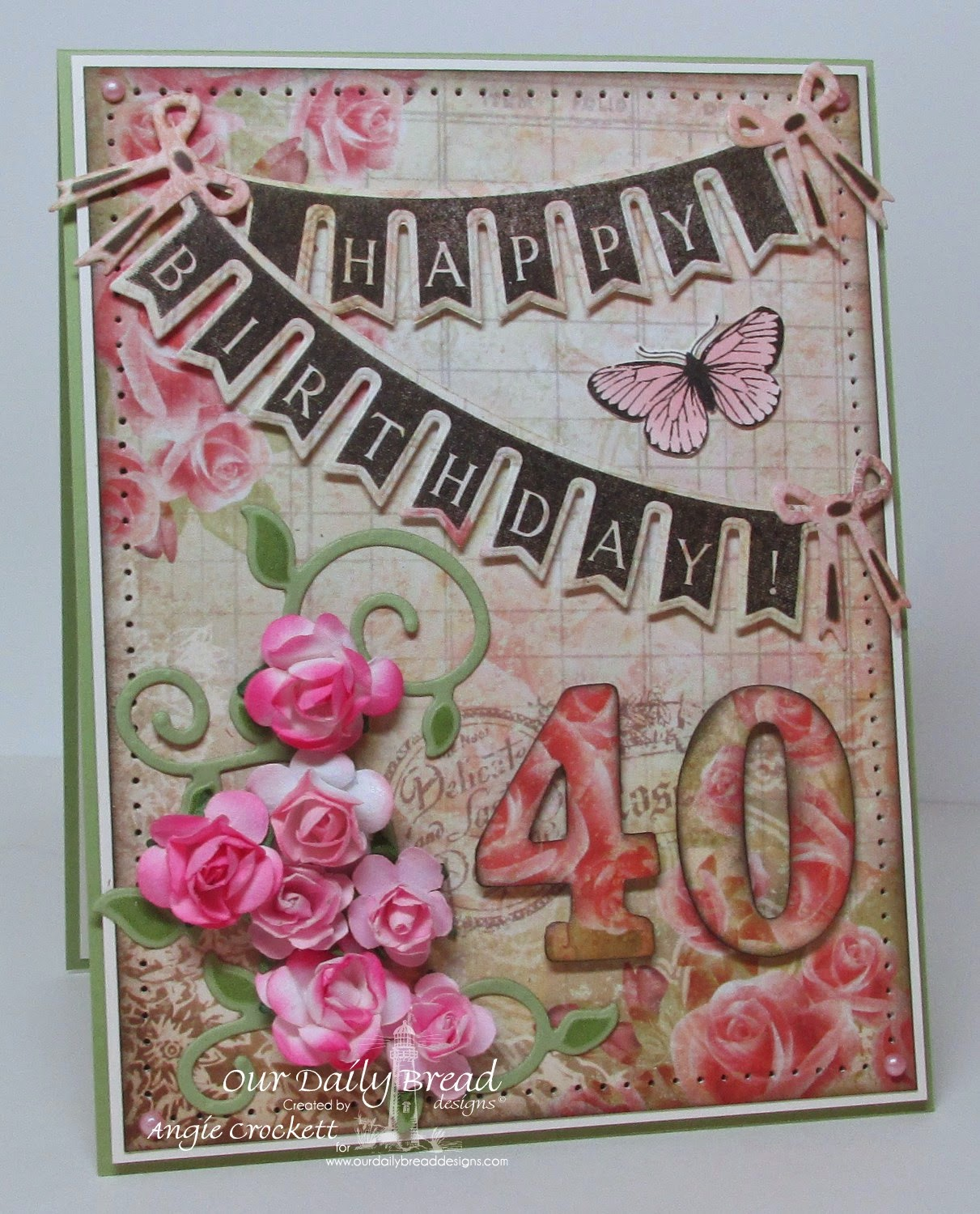 ODBD Custom Pennant Swag Die, Butterfly Stamped By Mini, Pennant Swag 2, Blushing Rose Designer Paper Collection, ODBD Fancy Foliage Die Set, Card Designer Angie Crockett