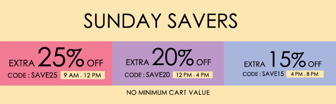 Sunday Savers : Extra 25% – 15% OFF Sitewide – No Minimum Purchase || Discount Drop upto 8 PM