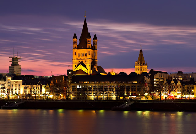 Cologne, Germany by night.
