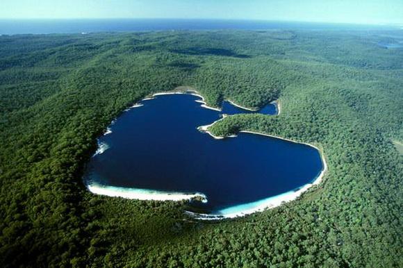 Srce kao prirodno čudo  An+aerial+of+heart-shaped+Lake+McKenzie,+Fraser+Island,+Australia
