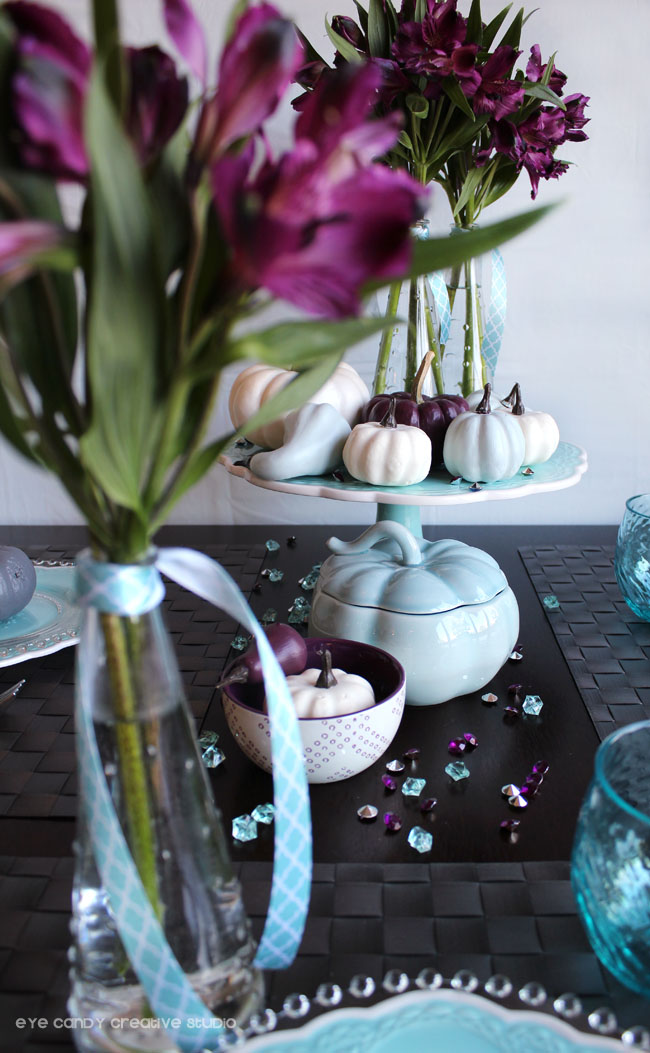flowers on thanksgiving table, painted pumpkins, plum & blue table