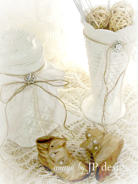 Vintage white vases and decor