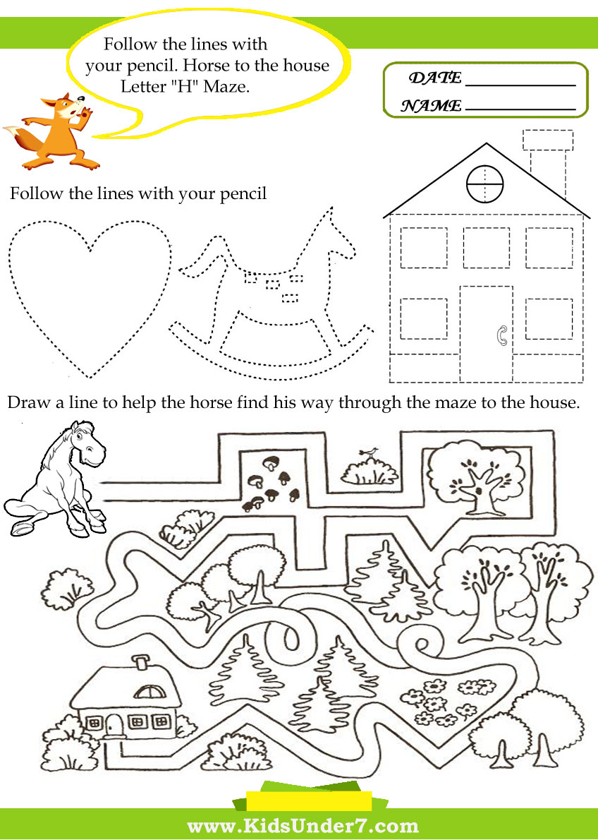 Kids Under 7 Letter H Worksheets – Letter H Worksheets Kindergarten