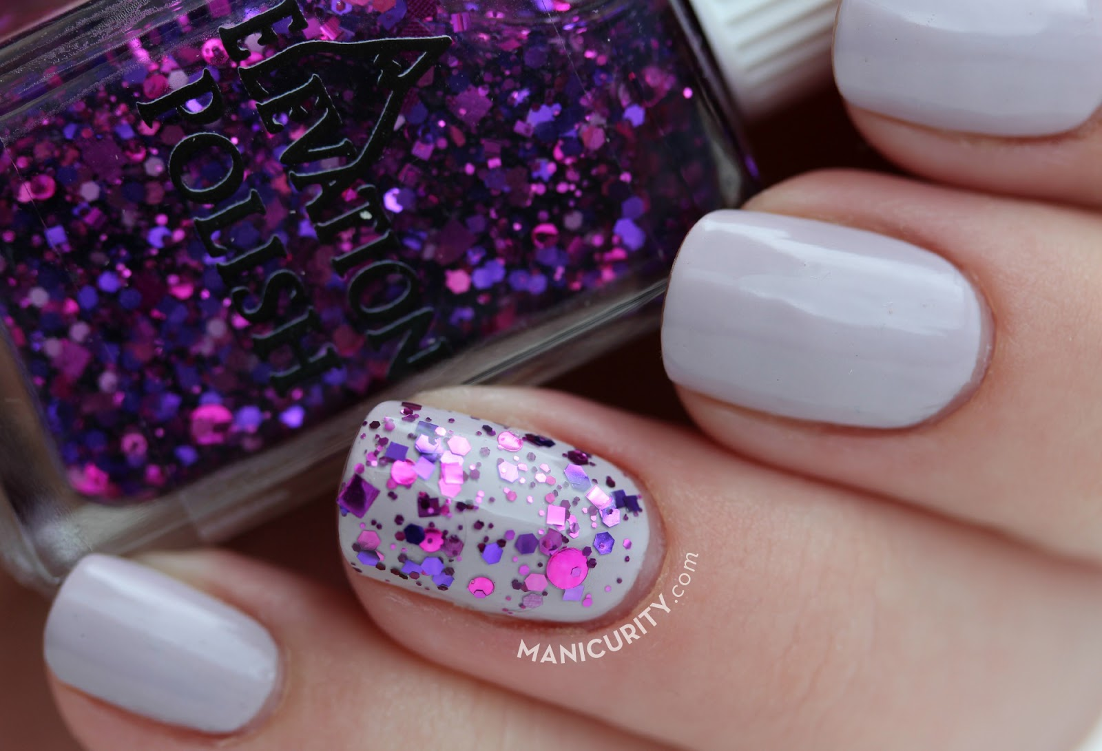 Classic Glitter Accent Mani - China Glaze Sweet as Air with Elevation Polish Pata Puffer II | Manicurity.com