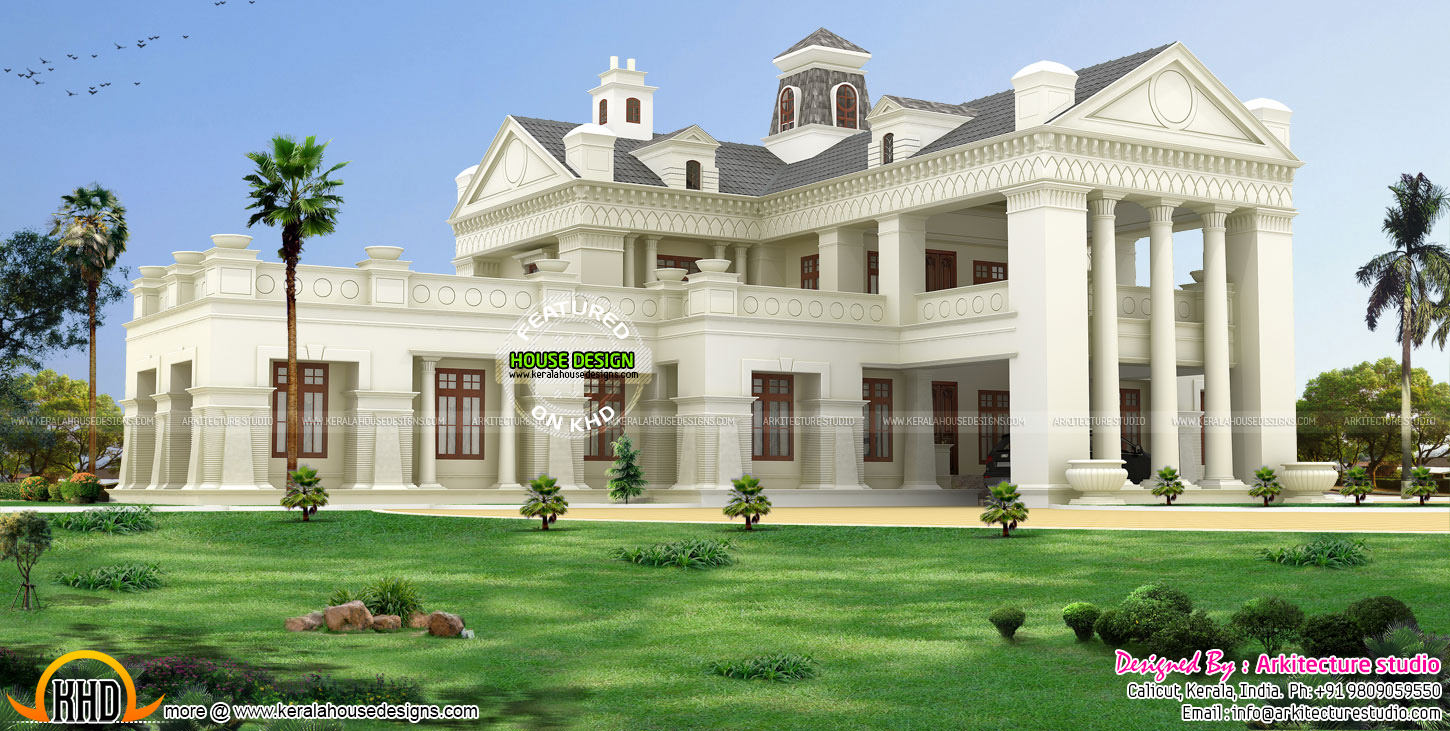 Luxury colonial style house architecture kerala home for Luxury homes architecture design