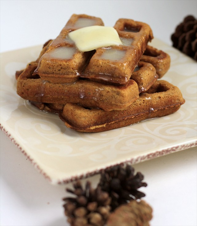 GINGERBREAD WAFFLES with BUTTER SYRUP - Butter with a Side of Bread
