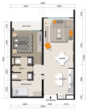 Floor plan feng shui myhabitat klcc type b2 for Garage feng shui