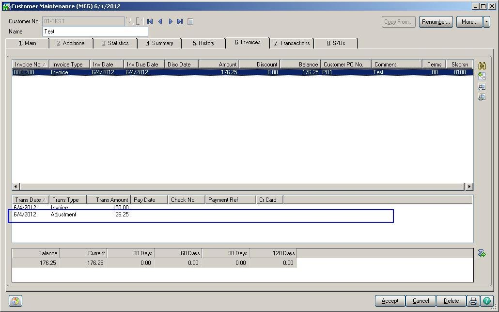 Accounts Receivable Invoice in Sage 100