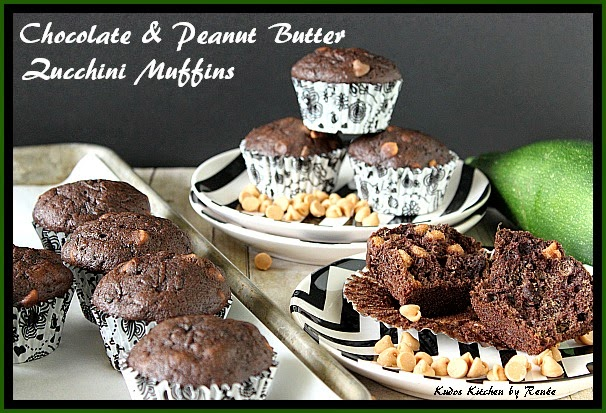 Chocolate and Peanut Butter Zucchini Muffins