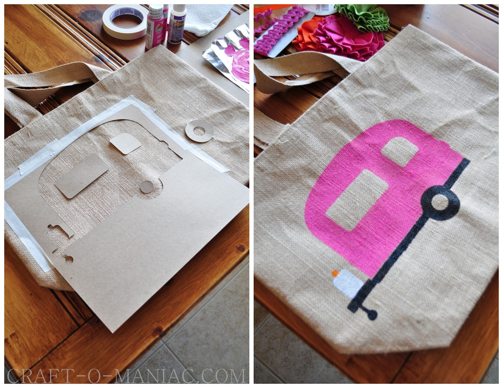Diy gone glamping stenciled tote craft o maniac for Glamping ideas diy