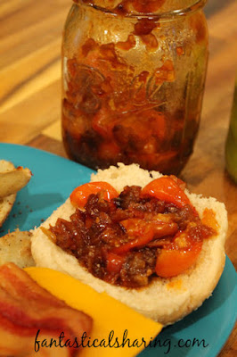 Tomato Bacon Jam | The perfect addition to burgers and grilled cheese sandwiches or topping for crackers for a snack #bacon #HandCraftedEdibles #jam
