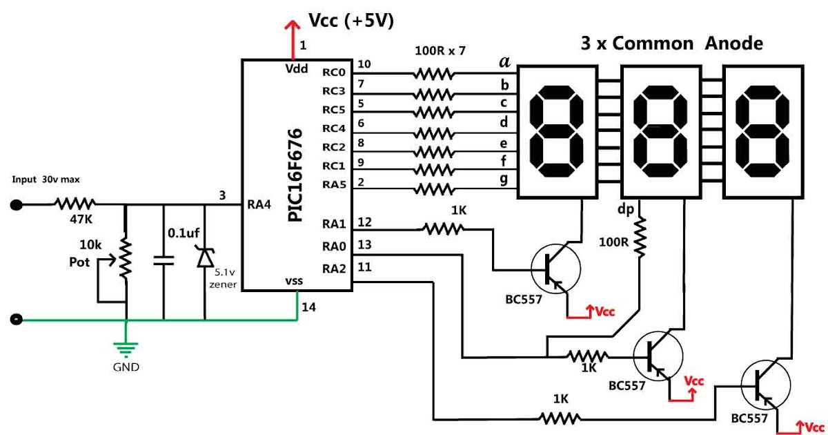 zouhair electronics  30 volts panel volt meter using pic mcu