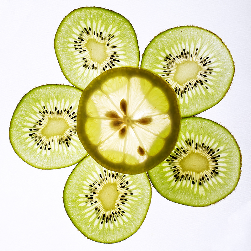 Flower Pattern Made up by Sliced Kiwi and Lemon